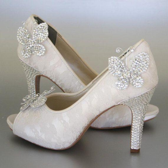 Wedding Shoes Ivory Peeptoes With Lace Overlay Rhinestone Heel And Platform