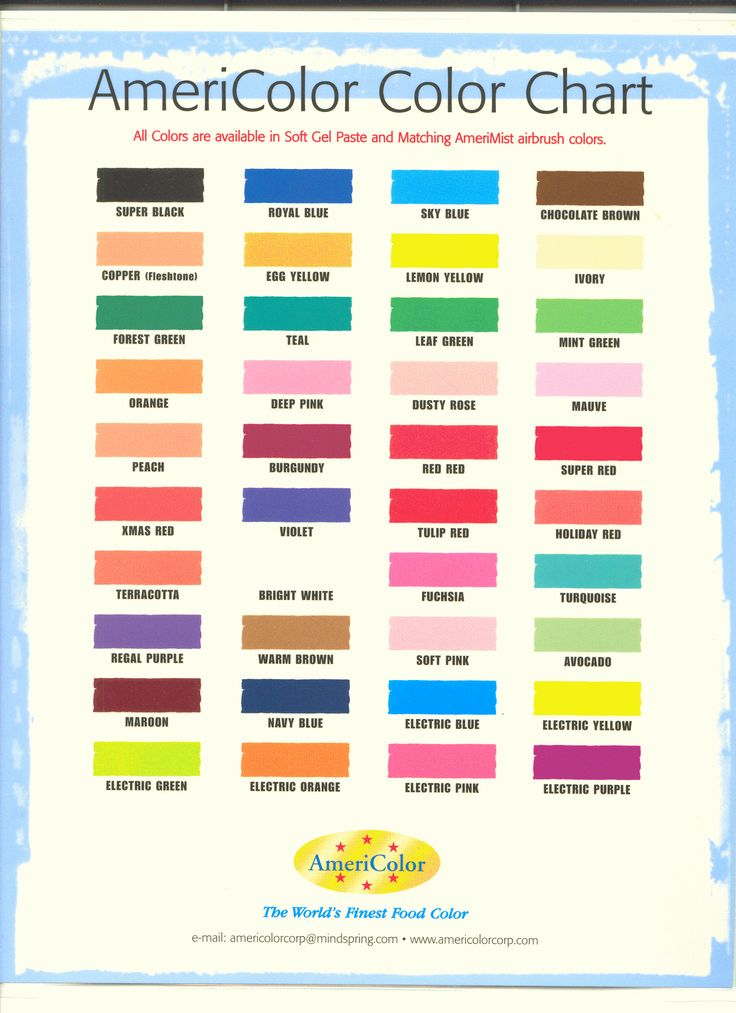 Americolor Colour Chart Blending Chart For Americolor Gels Cut