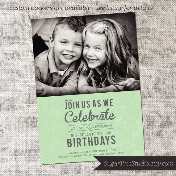 joint birthday custom photo shared birthday party by sugartreestudio