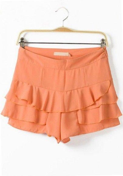 Orange Tiered Falbala Zipper Short Chiffon Pants