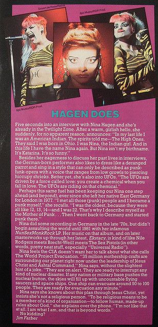 1984 Nina Hagen STAR HITS MAGAZINE german pop ARTICLE 1980s |  I proudly own this issue.