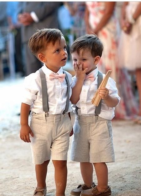 Dress your page boys in smart braces, shirts and shorts for the cute factor, but make sure their shoes are super comfy to avoid sore blisters.