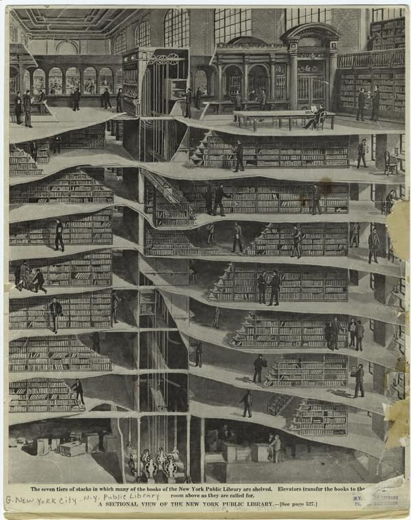 a sectional view of the new york public library