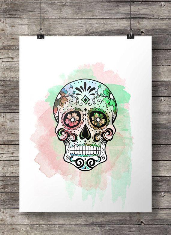 Buy 2 prints get 1 free - Watercolor Sugar Skull -  Printable wall art  - Instant download digital print