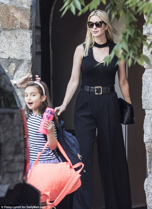 Mom duties: The first daughter appeared to be taking her five-year-old daughter Arabella to camp before heading to work for the day