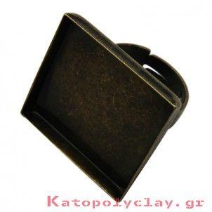 3 Βάσεις δαχτυλιδιού ρυθμιζόμενες, τετράγωνες, στο χρώμα του μπρούτζου