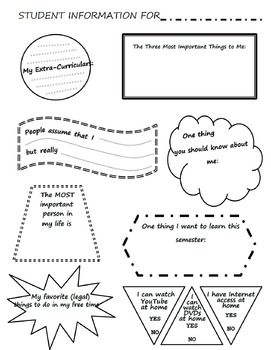 Here is a two-page student info sheet that I use on the first day of school to get to know a little bit about my students. It also includes a field for them to ask me a question, as well as a space to draw a picture (we do a lot of drawing in my FACS courses to help illustrate concepts, so we start day one!).