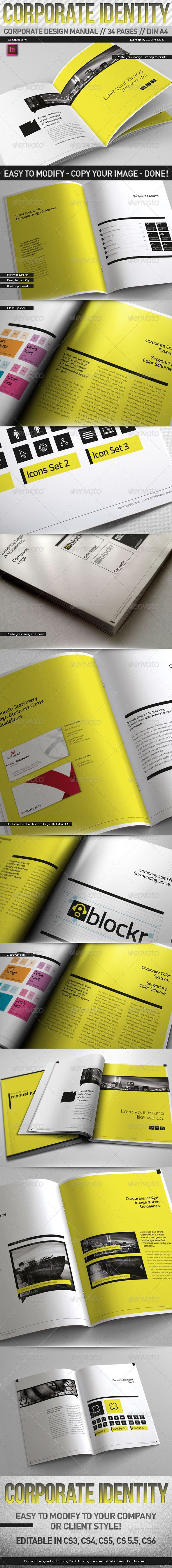 Corporate Design Manual Guide DIN A4 // 34 Pages Get the source files for download: http://graphicriver.net/item/corporate-design-manual-guide-din-a4-34-pages/4923120