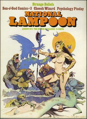 National Lampoon, August 1973. Cover art by Frank Frazetta.