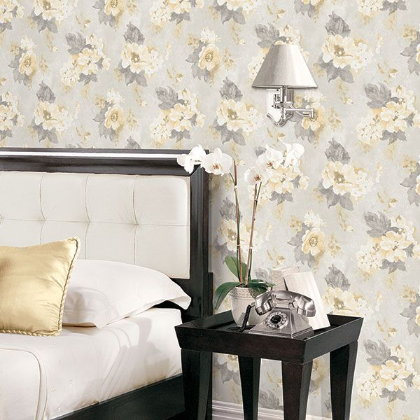 A little bit of luxury. Yellow and grey floral wallpaper from the Vintage Damasks Collection by Galerie - G34104R