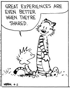 Calvin and Hobbes, Sharing (4 of 4 DA) - Great experiences are even better when they're shared.