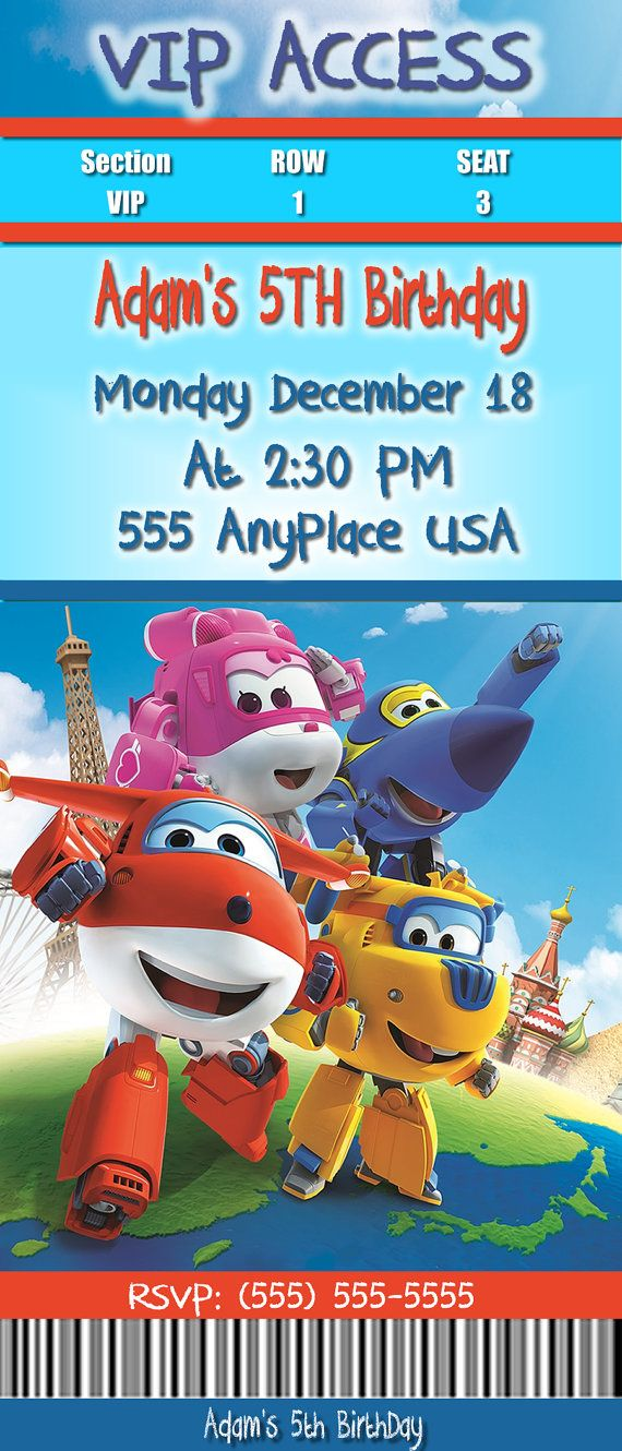 ▼ ▼WELCOME TO 3SISTERSPUBLISHING▼ ▼ Super Wings Birthday Ticket Invitations You (ONLY) need to purchase (1) Ticket This listing is for the