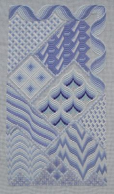 Periwinkle variations in bargello