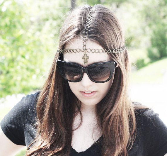 gothic gold cross chain headpiece handmade ready by luannevintage, $18.00