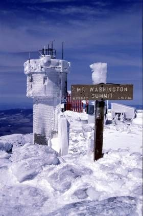 Observatory Tower & Summit Sign by Robert Zakon - Mount Washington Observatory, New Hampshire