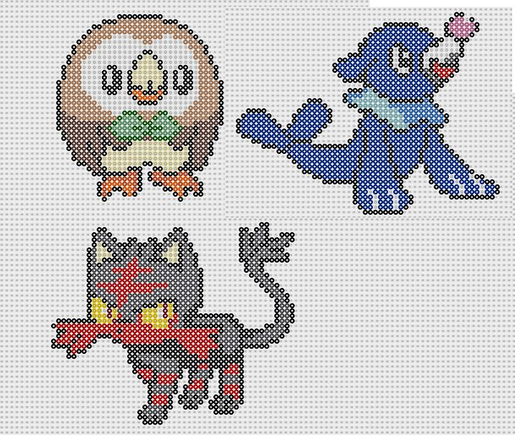 Pokémon Sun and Moon's New Generation (Rowlet, Litten and Popplio) Perler Bead Patterns