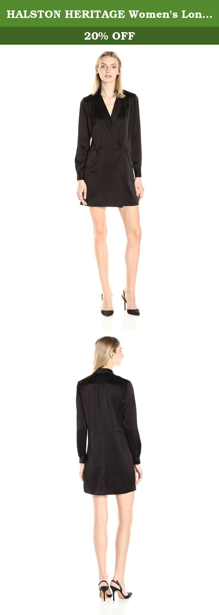 HALSTON HERITAGE Women's Long Sleeve Satin Shirt Dress, Black, 10. Luxe tuxedo long sleeve shift shirtdress in satin with lapels like jacket.