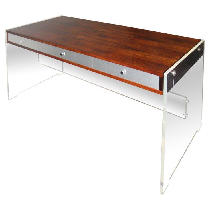 danish rosewood and lucite desk by georg petersen mobelfabrik