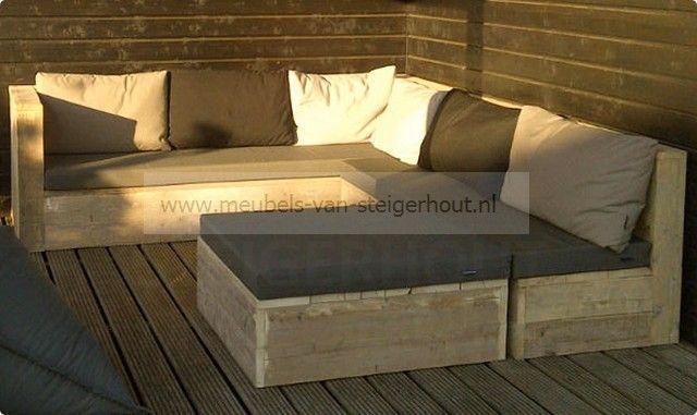 Hoekbank Lelystad steigerhout - Lounge hoekbank steigerhout - Tuinmeubels