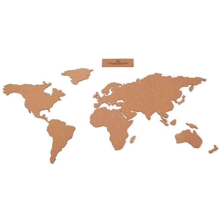 """Dit is hét ultieme prikbord voor de wereldreiziger! Bevestig de Luckies Wereldkaart Kurk aan de muur en markeer met de meegeleverde """"map pins"""" alle plekken waar je bent geweest. Prik jouw foto's, tickets en andere herinneringen op de juiste plaats!"""