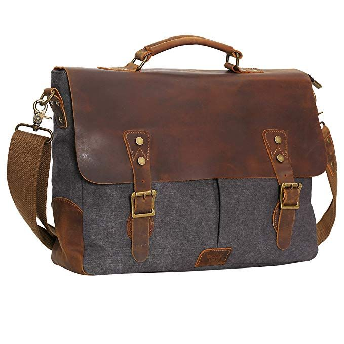 fc8756700dc3 WOWBOX 15.6 Inch Messenger Bag for Mens Vintage Canvas Leather Laptop  Messenger Bags Men Business Briefcase