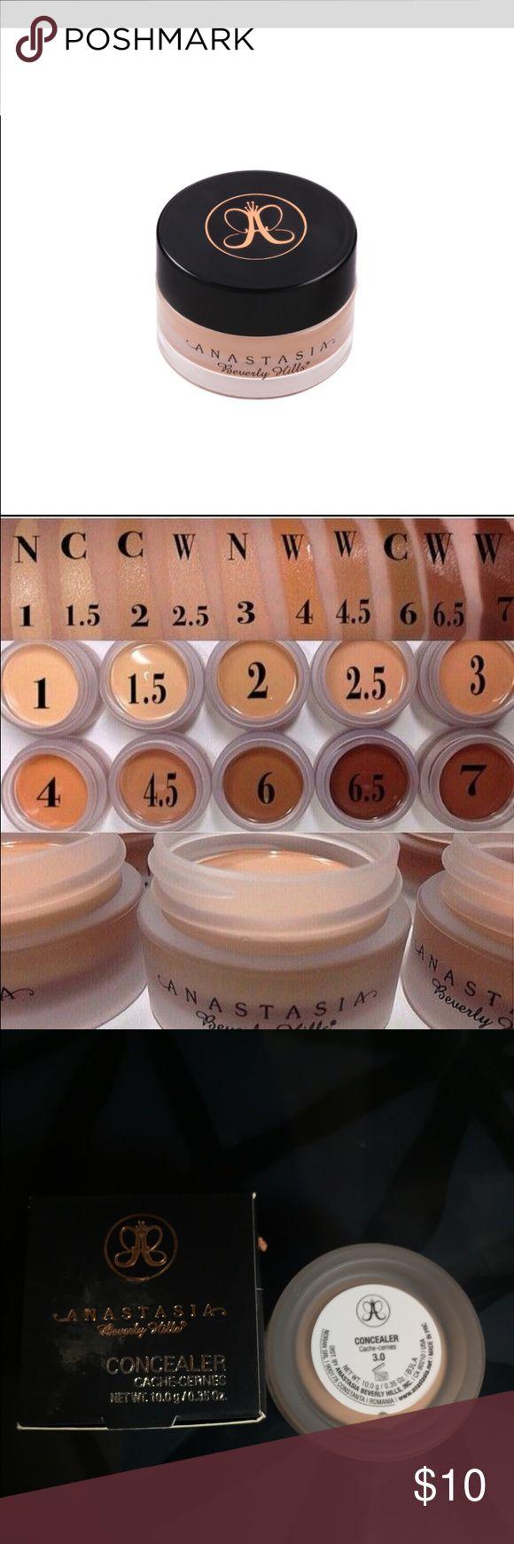 Anastasia Beverly Hills concealer 3.0 Anastasia Beverly Hills cream concealer 3.0 New in box. Photo of swatches for color reference. Anastasia Beverly Hills Makeup Concealer