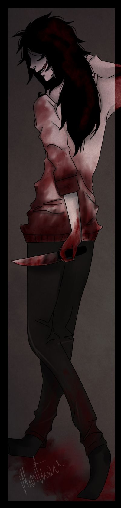 Jeff The Killer---- mostly everyone draws him to be so dashing when in reality (creepypasta reality) hes supposed to be an ugly deformed creature