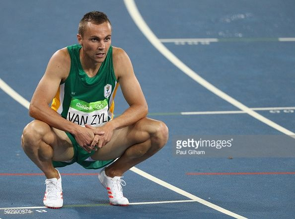 L.J. van Zyl of South Africa looks on during the Men's 400m Hurdles semifinal on Day 11 of the Rio 2016 Olympic Games at the Olympic Stadium on August 16, 2016 in Rio de Janeiro, Brazil.