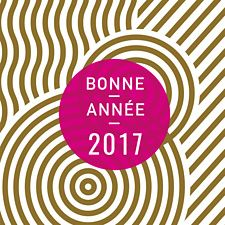 Gold et rouge framboise animent cette jolie carte de voeux 2017 imaginée par Popcarte. Cette carte design aux formes originales fera son petit effet pour vos voeux professionnels.