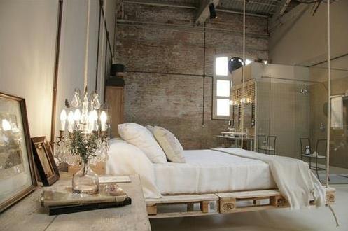 Hanging pallet bed.