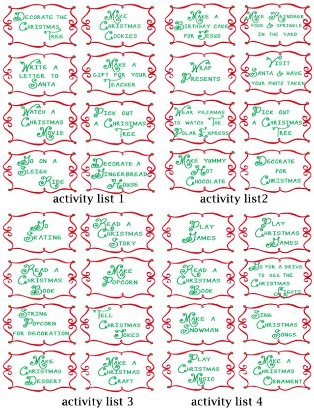 Advent Countdown Calendar including 100+ Activites to do with your family: FREE printables #christmasactivities #christmascountdown #adventcalendar