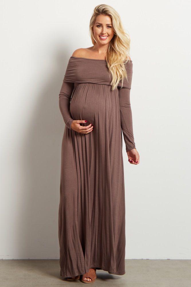 Mocha Cowl Neck Long Sleeve Maternity Maxi Dress