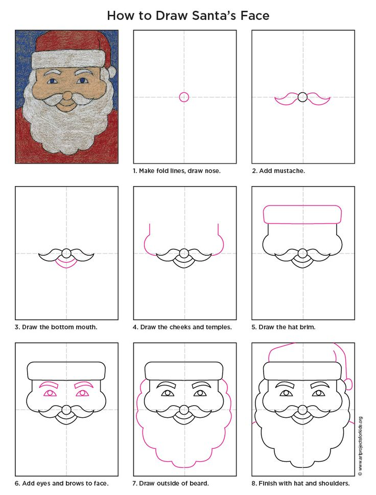 How to Draw Santa. PDF tutorial available. Previous link was broken, this one works!! #artprojectsforkids #howtodraw