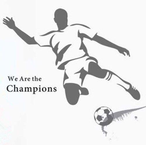 muursticker voetballer we are the champions