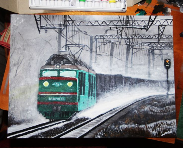 My old #painting of #train. #art #acrylicpainting