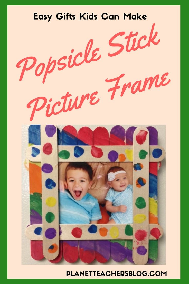 Kids gift idea. DIY Popsicle stick picture frame: Easy gifts kids can make. Great gifts for Mother's Day or Fathers Day. Preschool craft. How to make popsicle stick photo frame YouTube video planetteachersblog.com