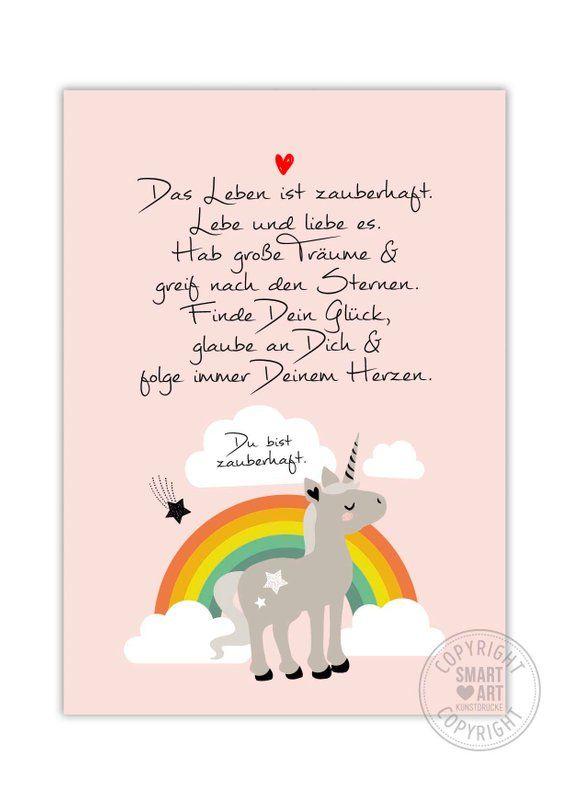 Regenbogen Einhorn Smart Art Kunstdrucke Kinderzimmerbild