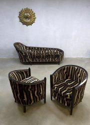French vintage Art Deco velvet chaise longue lounge set club chairs