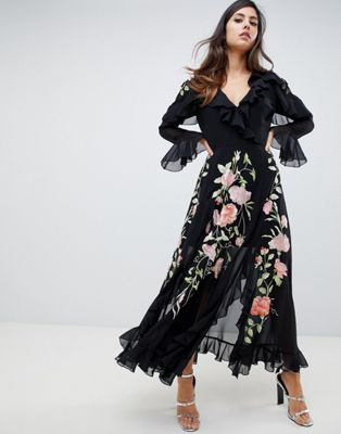 5f46ef3a30 ASOS DESIGN Embroidered Wrap Maxi Dress