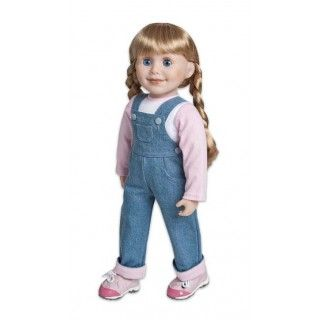 """Dungareez: Brianne will always slip into her denim overalls to muck out the stables; they're easy-fitting and sensible for rough and ready work on the farm. Her ensemble wouldn't be complete without pink, and her baseball shirt allows her to """"pink-ify"""" this outfit."""