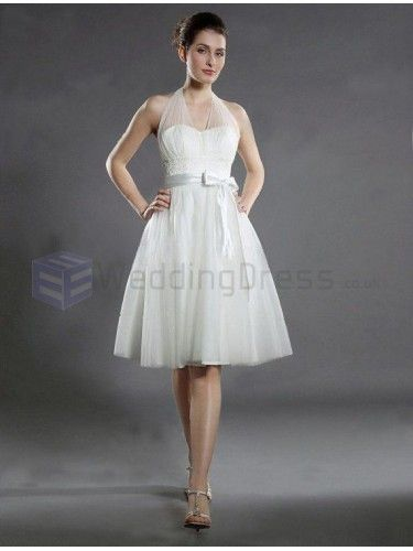 Empire Halter Satin Tulle Knee-length Wedding Dress with Applique
