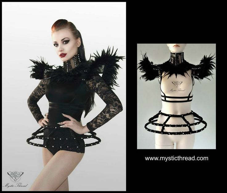 #black #lace #feather #neckcorset & #shoulderpads with #spikes / #black #crinoline #spike #hoop by  #MysticThread  / Model: #MaryDeLis /  e-shop: www.mysticthread.com