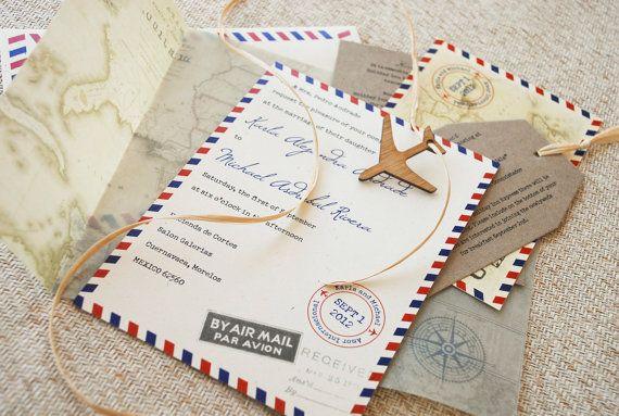 Vintage Air Mail Destination Wedding Invitation by beyonddesign