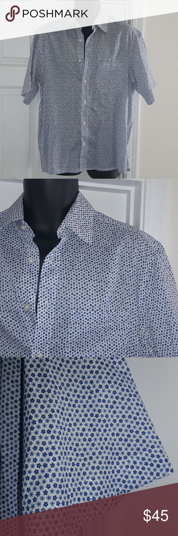 SCAPPINO JEANS Casual Shirt This awesome Scappino Jeans casual shirt is button-down, short-sleeve with blue flower design on white. In brand new condition without tags. Scappino Jeans Shirts Casual Button Down Shirts