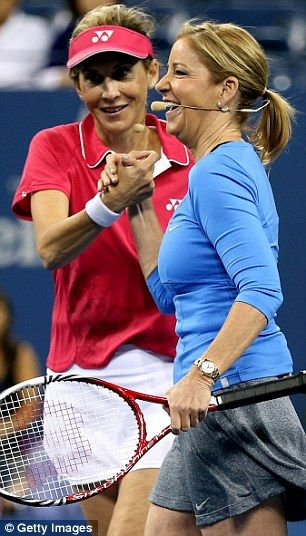 With Monica Seles playing an exhibition match against comics Jason Bigggs and Rainn Wilson at Flushing Meadow ~ September 2013