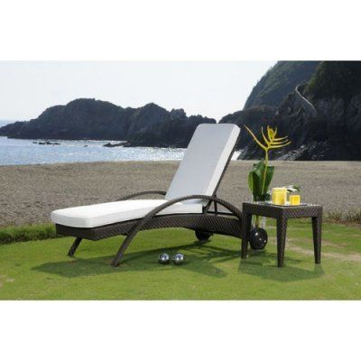 Soho Patio Chaise Lounge And End Table Set Fabric: Regency Sand By  Hospitality Rattan.
