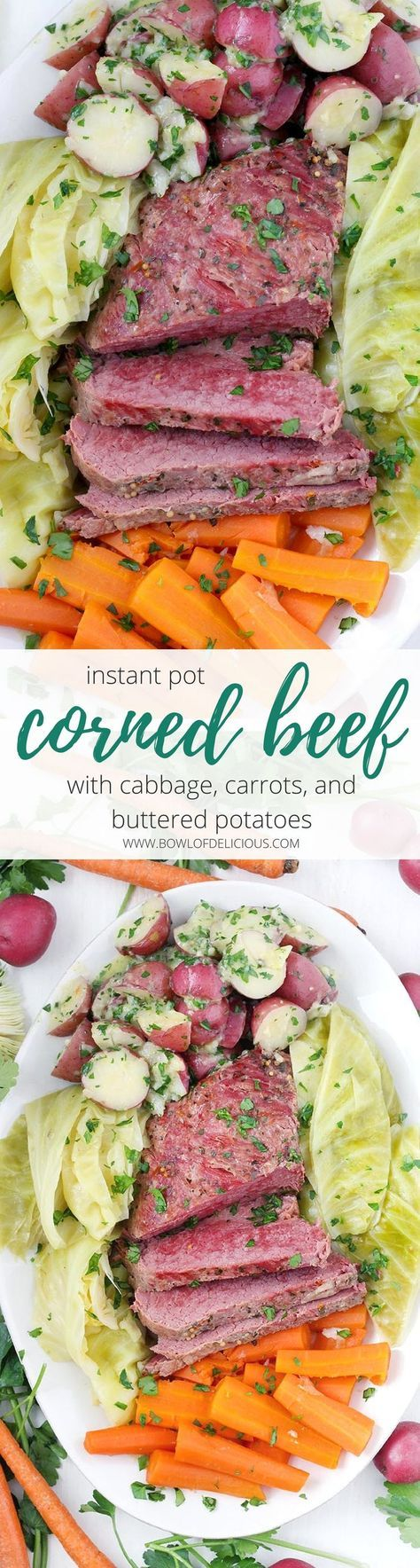 Celebrate St. Patrick's day with this recipe for Instant Pot Corned Beef with Cabbage, Carrots, and Buttered Potatoes! It takes half the amount of time as on the stovetop when you use a pressure cooker. The best part is the potatoes, smothered in melted butter and fresh parsley, and the corned beef is perfectly cooked to a fall-apart texture. #CornedBeef #InstantPot #StPatricksDay #Paleo #Whole30 #LowCarb