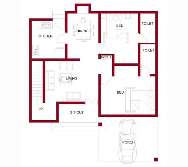 1157 Square Feet 2 Attached Bedroom Low Budget Home Design And