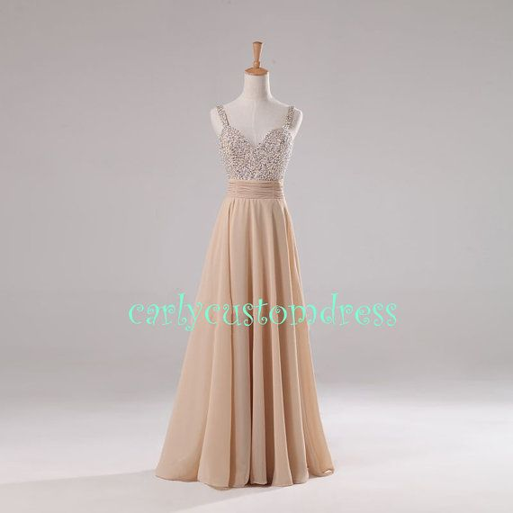 Long champagne prom dress beaded bridesmaid dress peach for Purple and grey wedding dresses