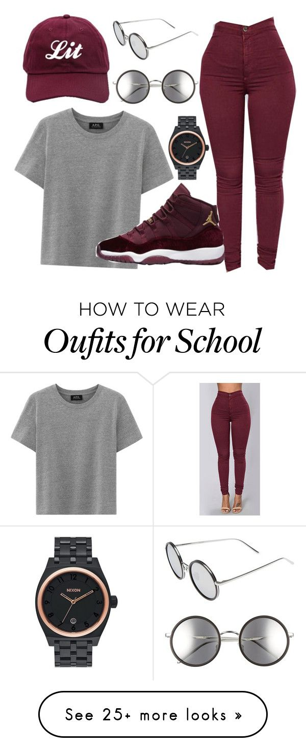 """grey and burgundy"" by vjur-tw on Polyvore featuring Linda Farrow and Nixon"